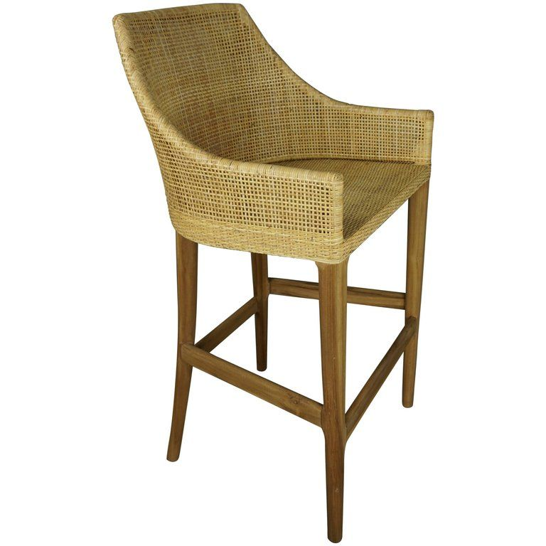 Wooden Teak And Rattan Bar Stool Summer House Kitchen In
