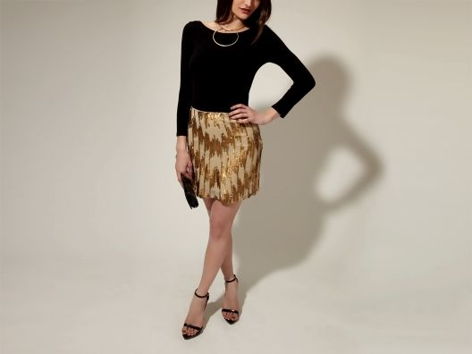 KAS New York Roxanna #Skirt #gold #chevron $119  Use my Invite!! : http://osky.co/KQeZSi