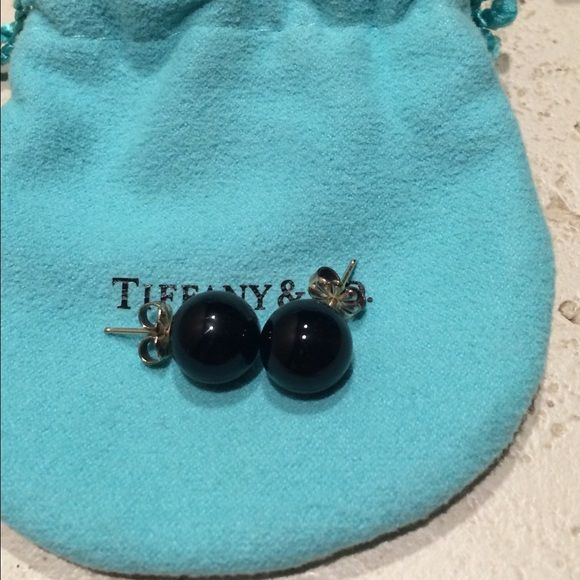 Beautiful Clic Tiffany Co Onyx Stud Earrings Pre Owned Sterling Silver With Black Beads 10 Mm These Are A And Pretty Addition To Any