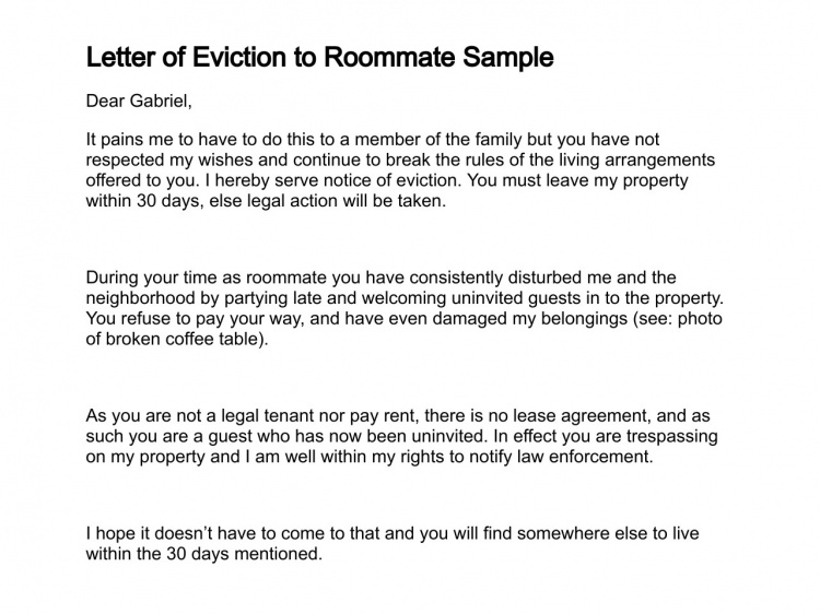 how to write a eviction notice
