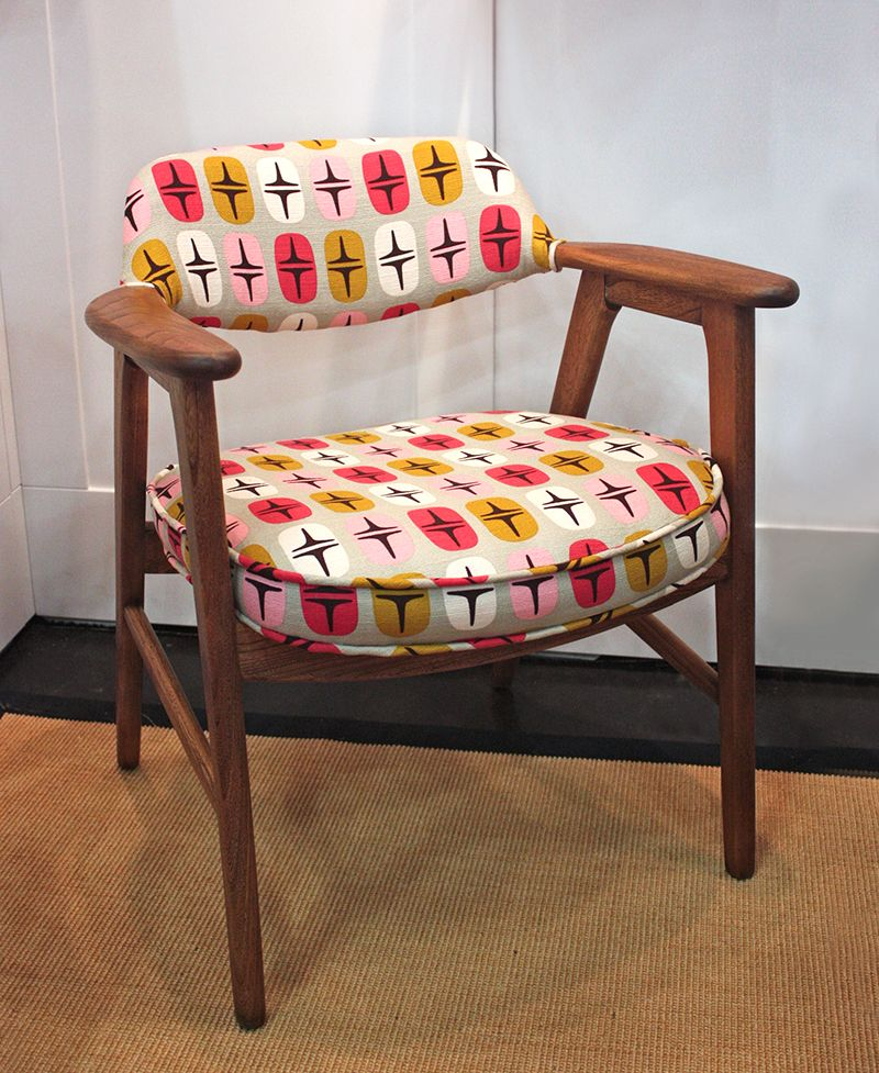 Mid Century Chair Reupholstered In Quadrant Barkcloth From The Time Warp Line By Jessica Jones For Cloud9 Fabrics Mcm Timewarpfabric