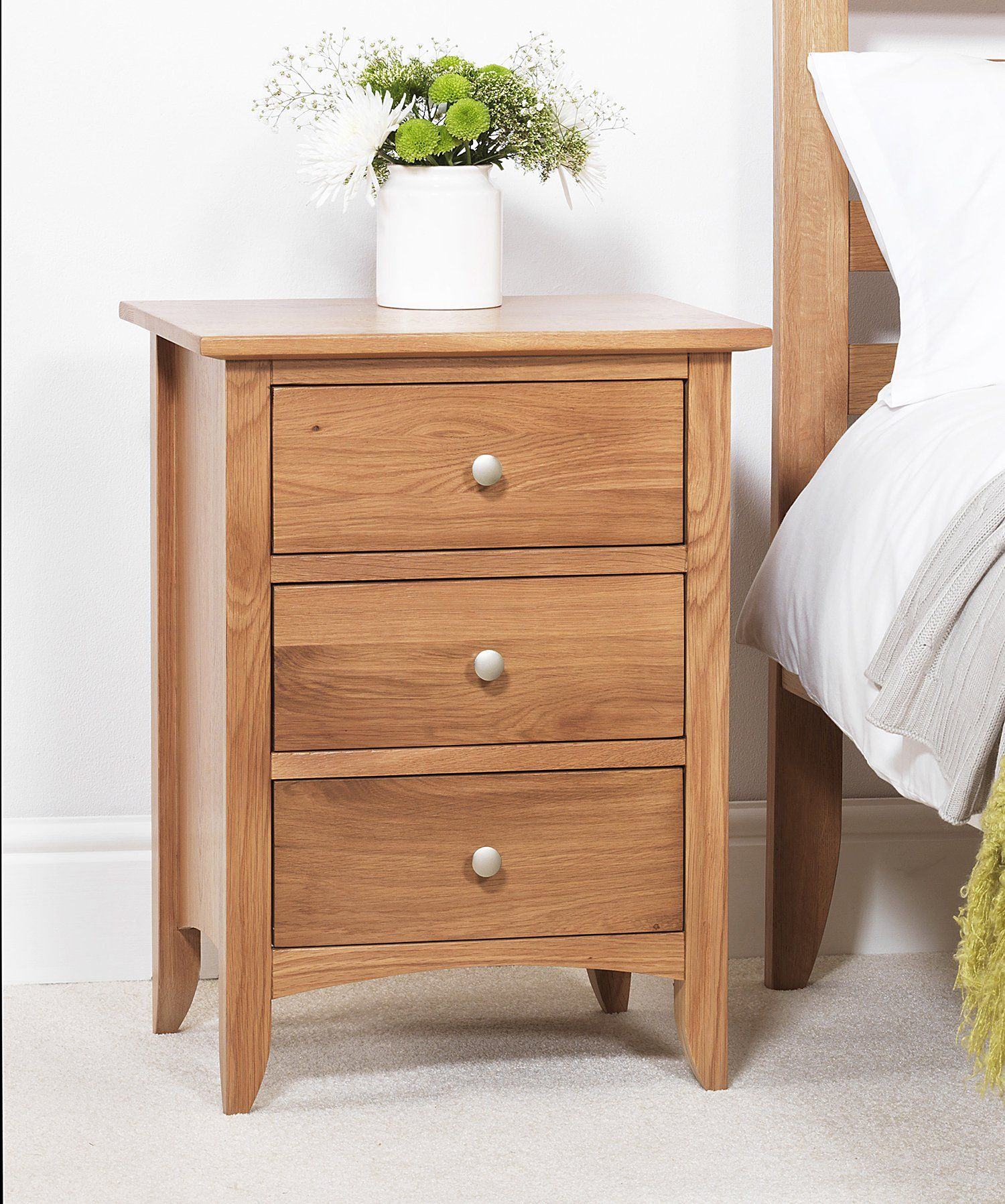 Edward Hopper Oak Bedside Table 3 Drawer ASSEMBLED
