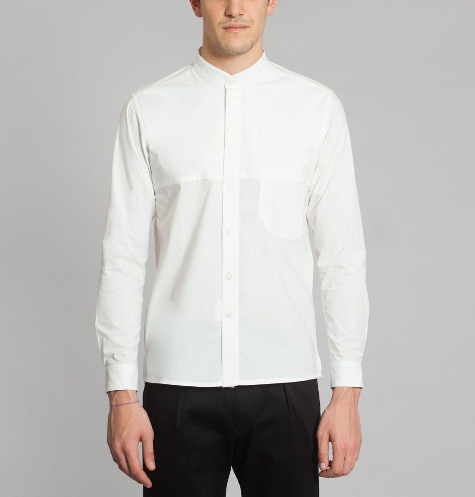 Avoc white half mao shirt on sale at luexception dress pinterest
