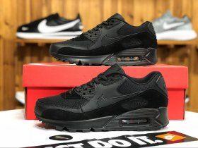 best service 47fc4 de7c3 Nike Wmns Air Max 90 Triple Black 325213-043 Women s Men s Jogging Shoes