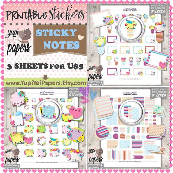 Sticky Note Stickers, Planner Stickers, Reminder Stickers, Printable Stickers, Planner Accessories, Erin Condren, Flag Stickers