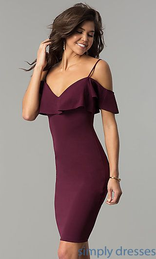 1303f0a6a72a Off-the-Shoulder Short Party Dress in Plum Purple in 2019