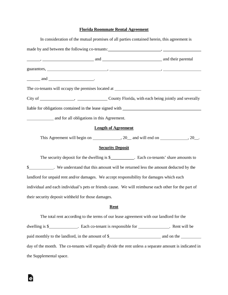 Free Florida Roommate Room Rental Agreement Template Pdf Word Eforms Free Fillabl Rental Agreement Templates Roommate Agreement Room Rental Agreement
