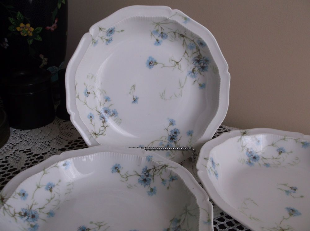 3 Theodore Haviland Limoges Blue Flowers Soup Bowls France Bachelor Buttons & 21 best china. images on Pinterest | Cutlery Dinner ware and ...