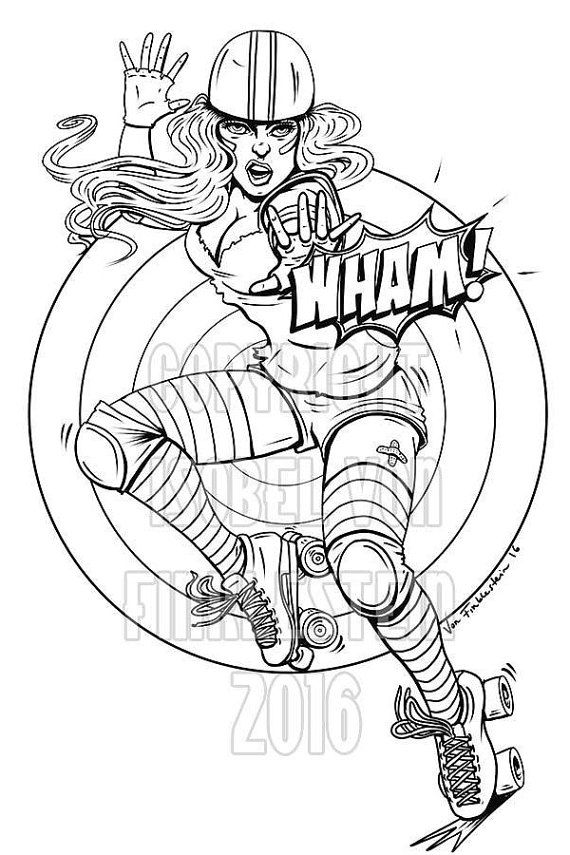 digital download print your own colouring book outline page roller derby wham