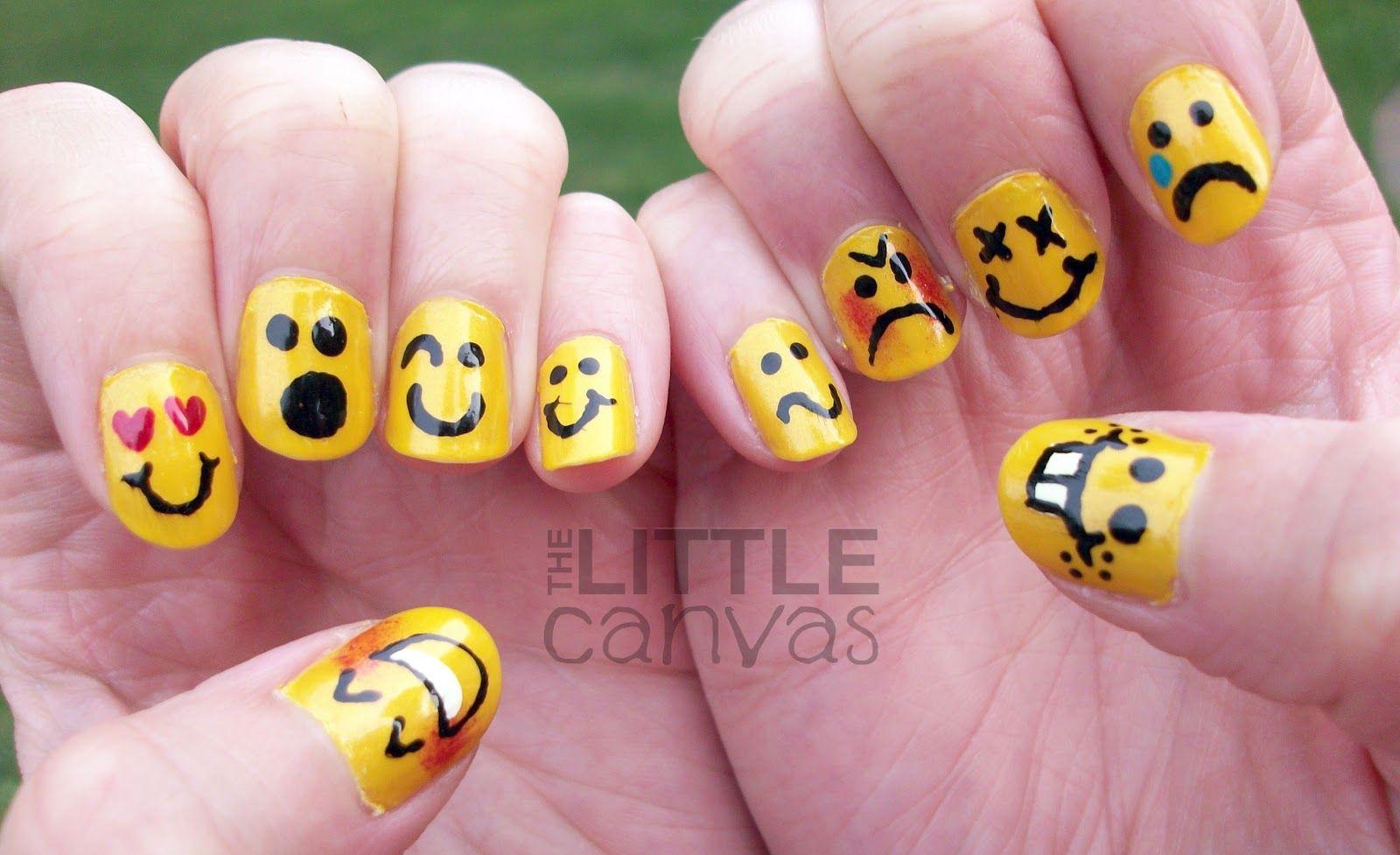 Yellow Nails 31 Day Challenge Day 3 Yellow Nails Emoticons Tropical Nails Emoji Nails Cute Nails