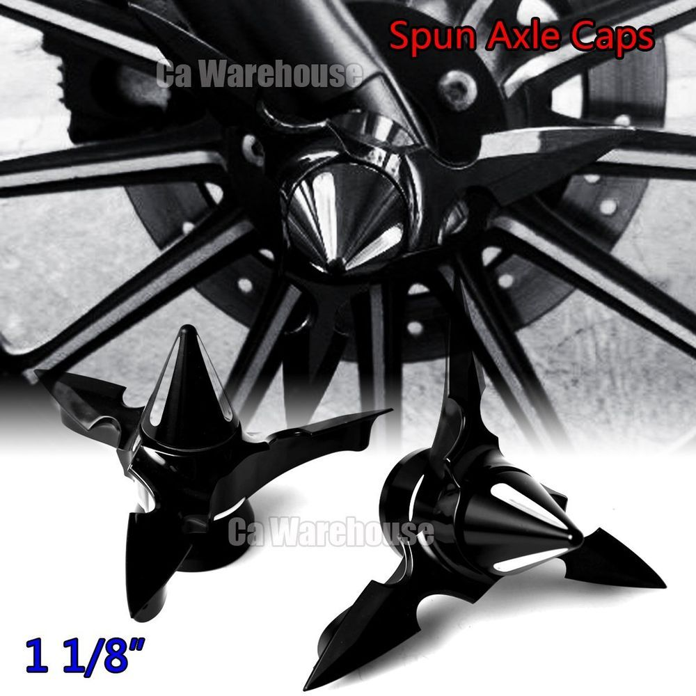 Details about CA Black Spun Blade Spinning Axle Caps For