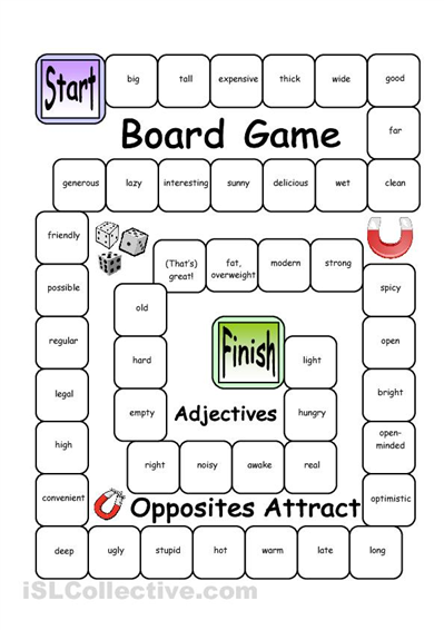 Board Game - Opposites Attract (Adjectives) worksheet - Free ESL ...