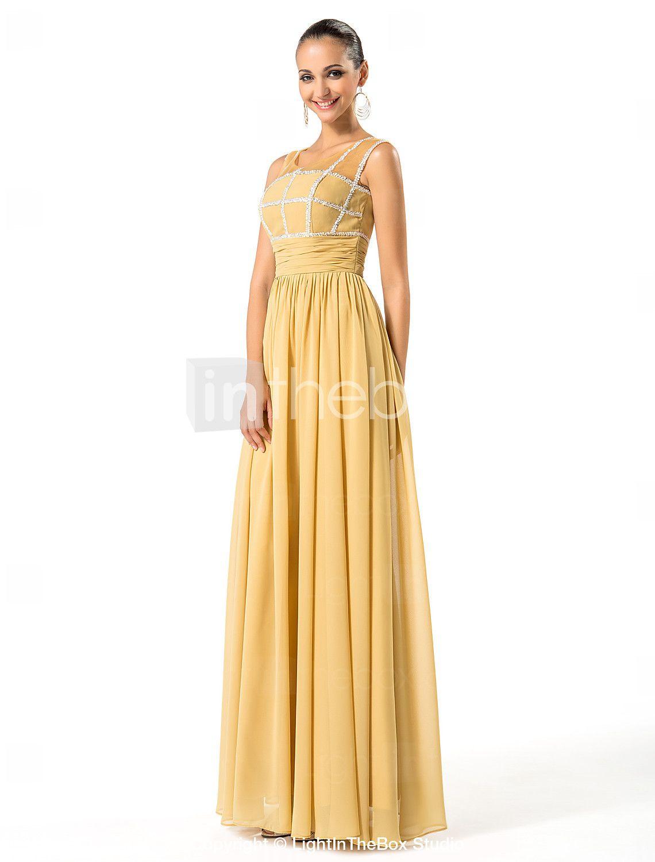 kappe / kolonne scoop gulvlange chiffon mor til bruden kjole - DKK kr. 600