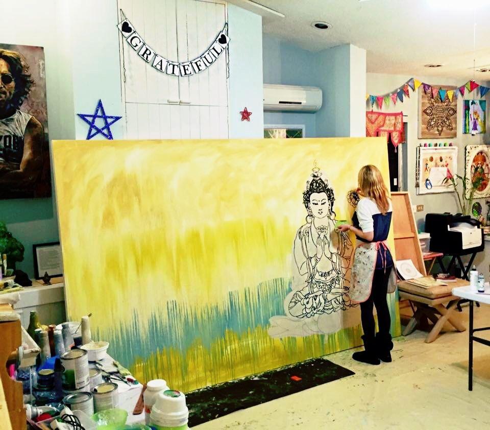 Paola Gonzalez Art, Buddha Hindu Painting big canvas art ...