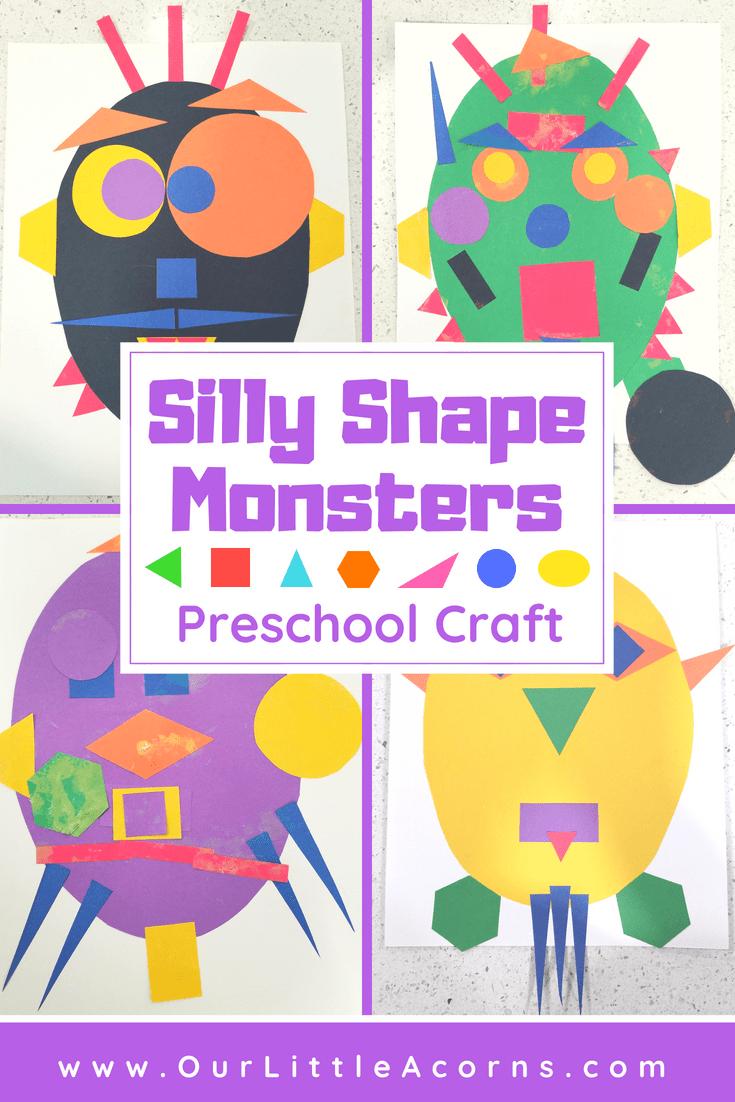 Silly Shape Monster Preschool Craft #creativeartsfor2-3yearolds