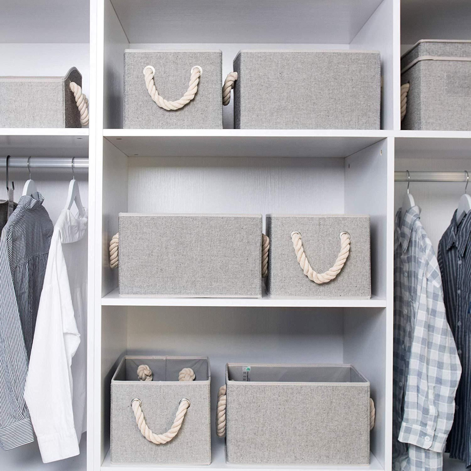 Storage Boxes For Shelves With Cotton Rope Handles Closet Storage