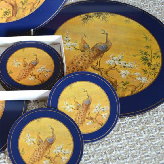 Pimpernel Peacock English 6 Round Placemats and 6 Matching