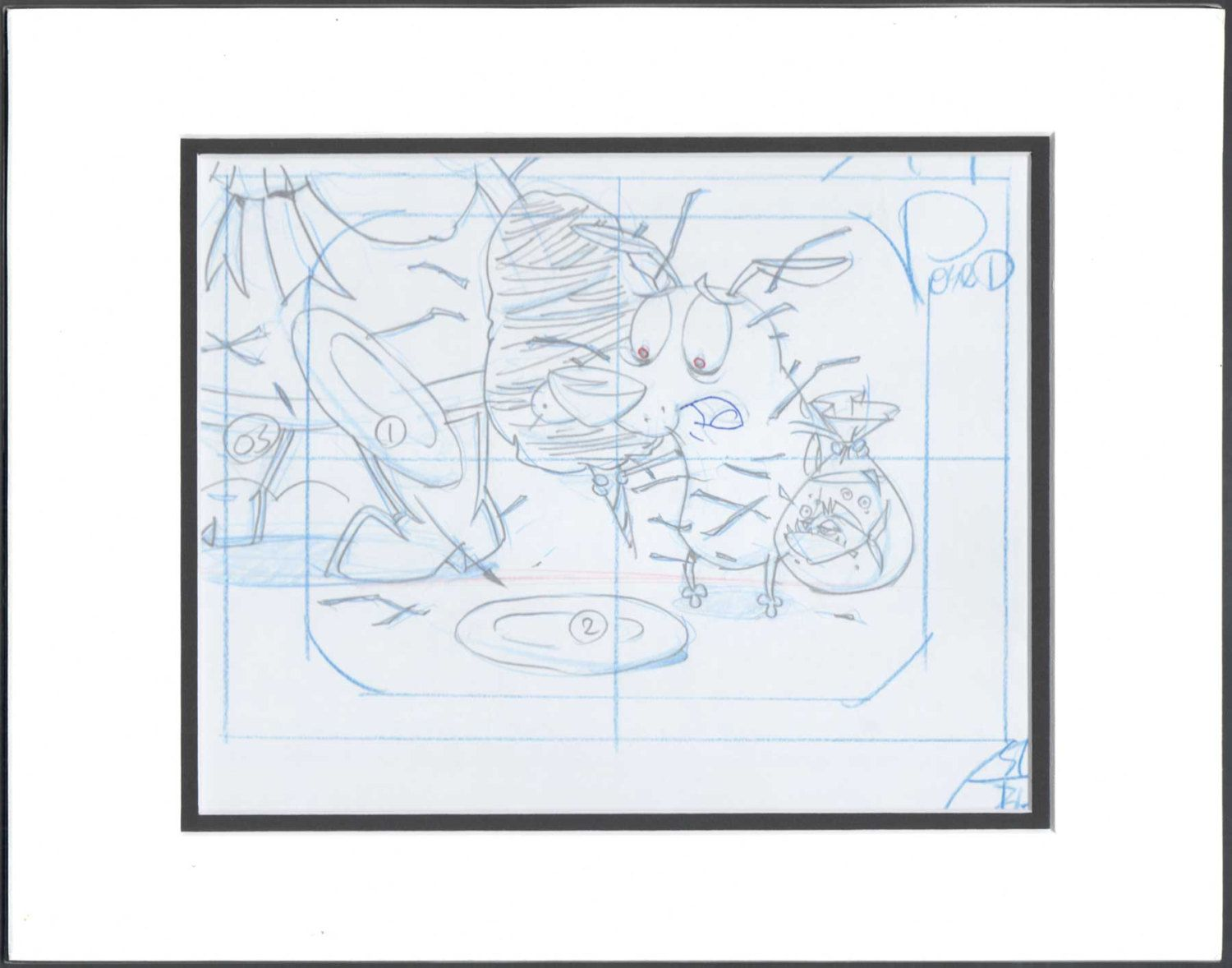 Courage the Cowardly Dog Animation cell drawing Cartoon Network Seal 2*