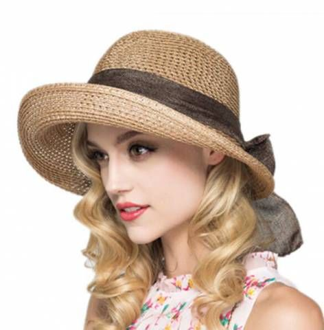 fbbed253 Large bow crimping straw hat for ladies sun protection wide brim hat ...