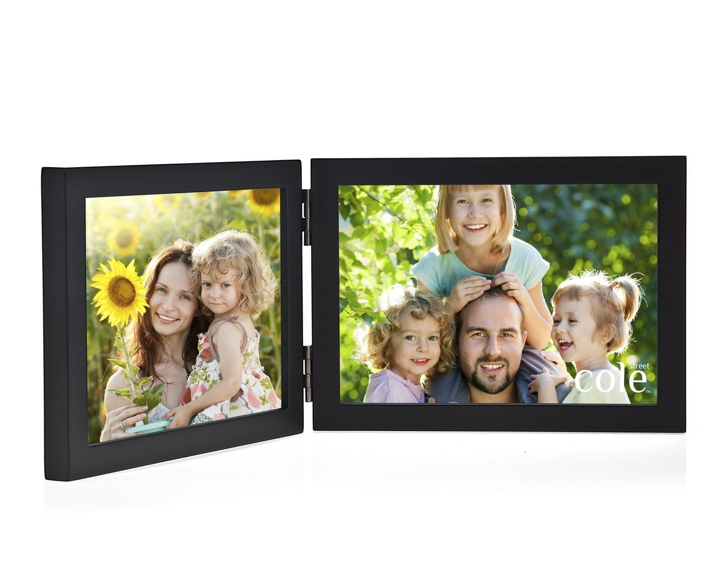 Philip Whitney Black Wooden Hinged Double 5x7 Horizontal Picture ...