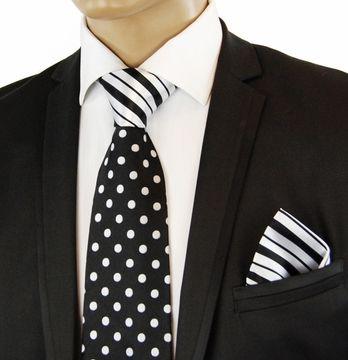 55cbeb110752e5 Black a. White Contrast Knot Silk Tie Set by Steven Land | Black ...