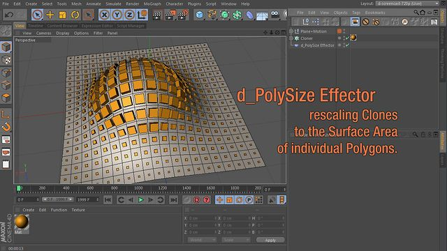 d_PolySize Effector : rescales Clones to Polygon Size by douwe. Here's a new MoGraph Effector I patched together :