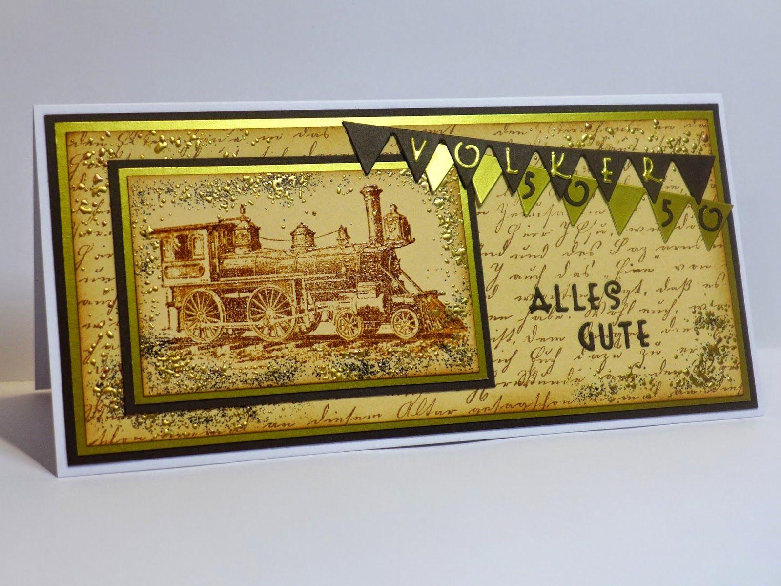 Simones Karten-Ecke: Männergeburtstagskarte - Male birthday card - handstamped and embossed