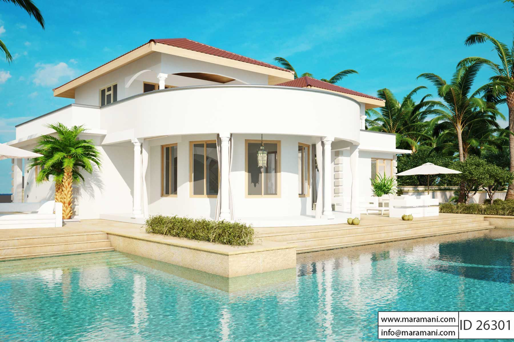 2 story house with pool - ID 26301 - House Plans | Pool ...