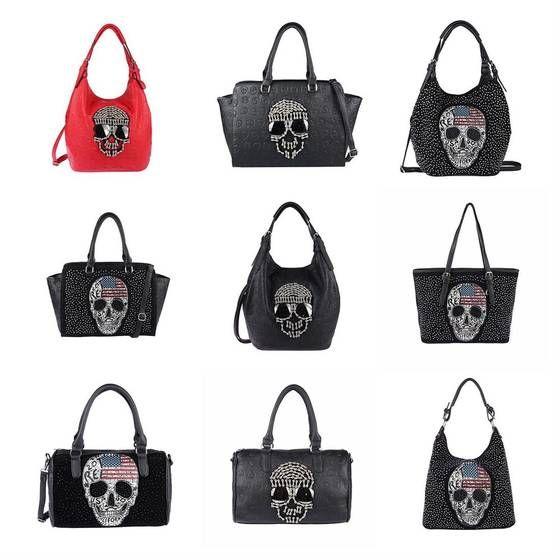 Photo of Women's skull skull bag shoulder bag backpack shoulder bag handbag rhinestones glitter bowling cross over body bag