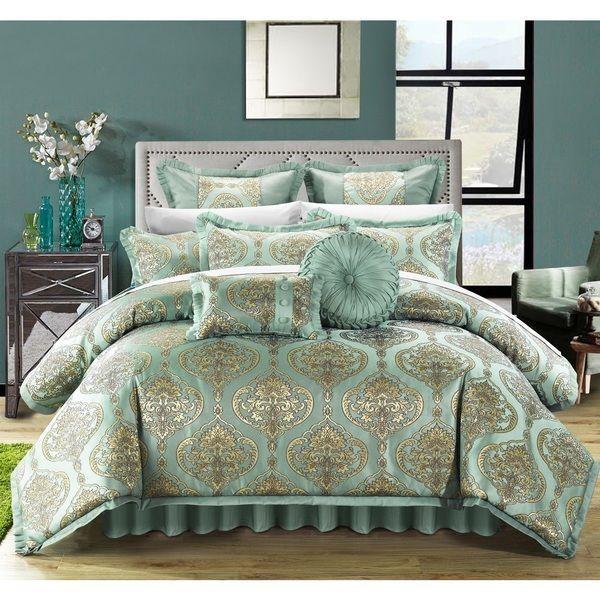 king 9pc pale aqua gold floral design jacquard motif comforter