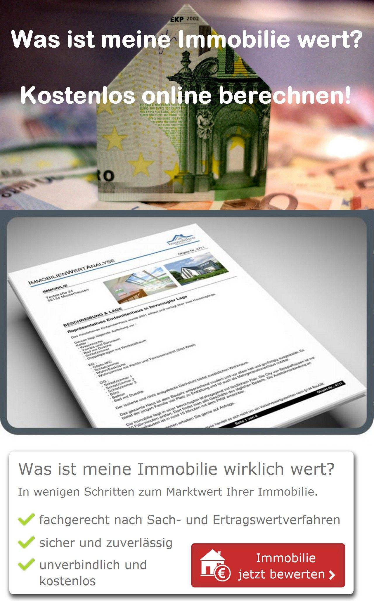 Was Ist Ihre Immobilie Haus Wohnung Grundstuck Oder Gewerbe Wert Berechnen Sie Online Und Kosten Immobilien Immobilienbewertung Gewerbeimmobilien