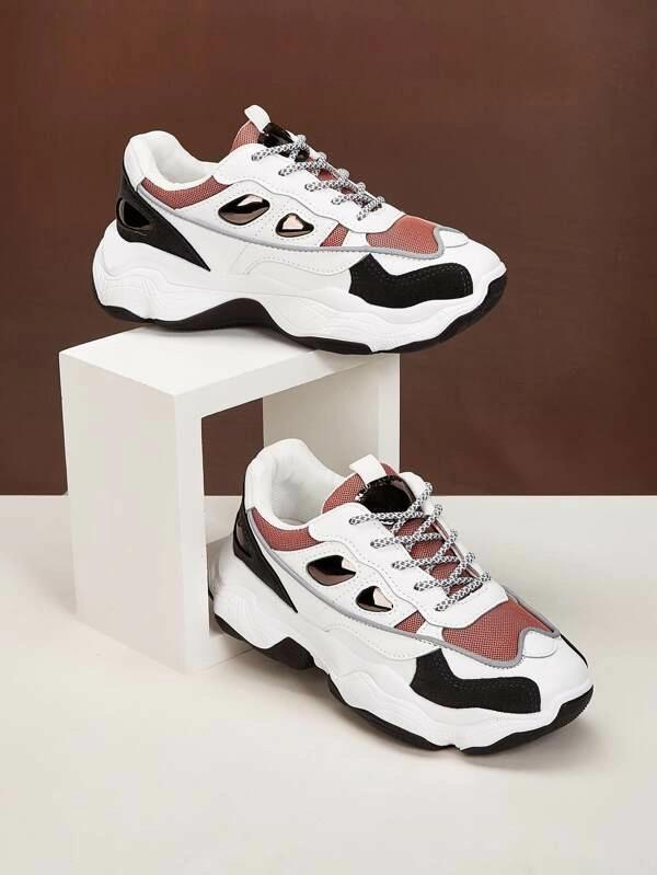 Color Block Mesh Panel Chunky Sneakers