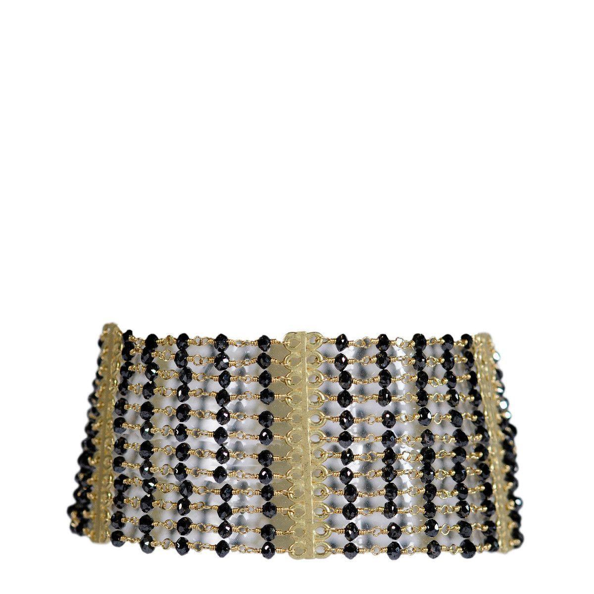 18K Gold 12 Strand Black Diamond Bracelet