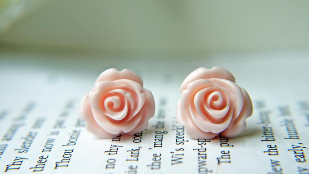 Pale Pink Rose Titanium Earrings. Titanium Posts. Hypoallergenic. Bridesmaid Earrings. Wedding Jewelry