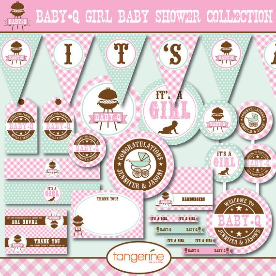 Bbq Baby Shower Decorations Package Babyq Baby Shower Printable