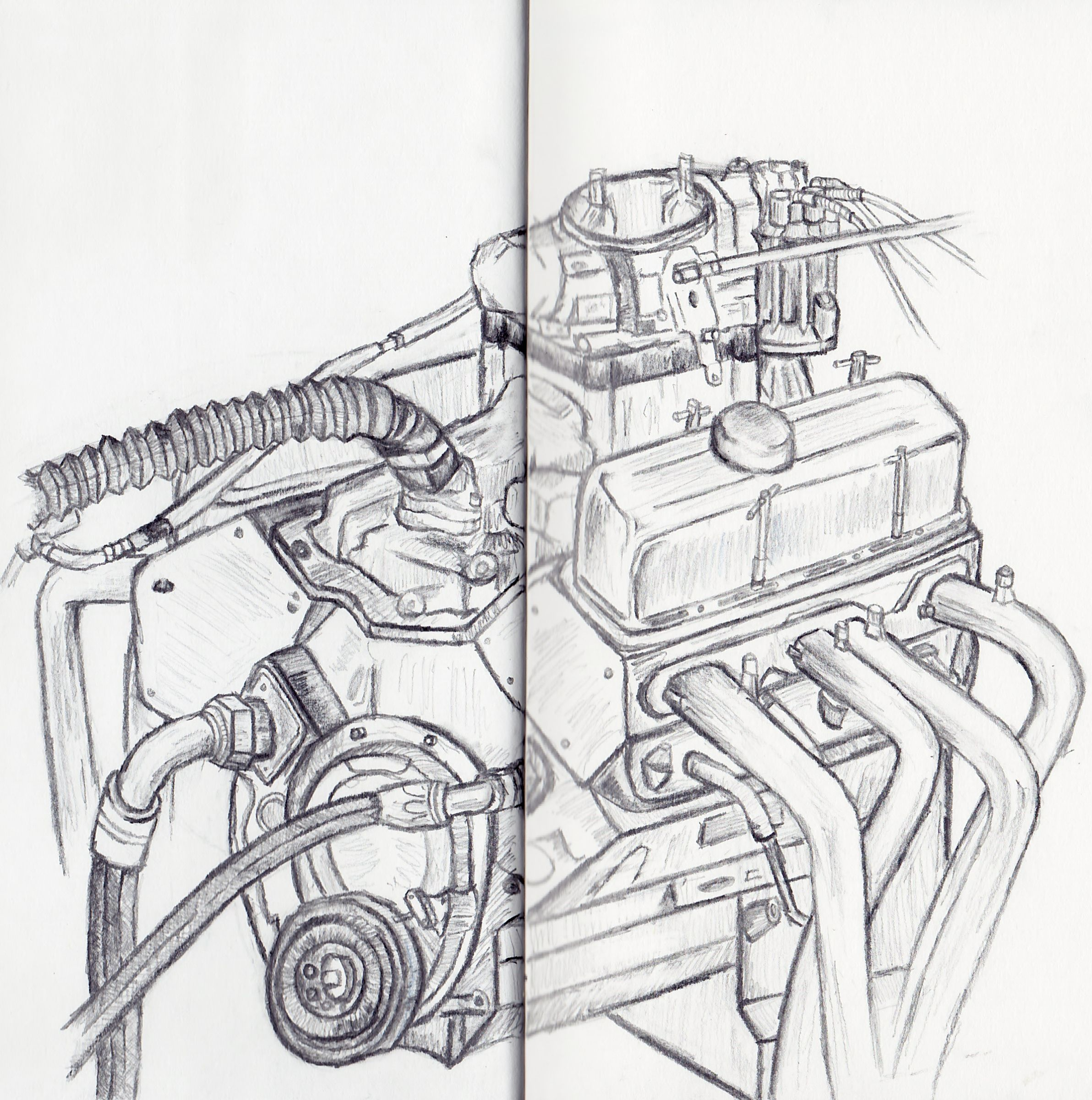 Car engine drawing, 12th July deadline | Drawings | Pinterest ...