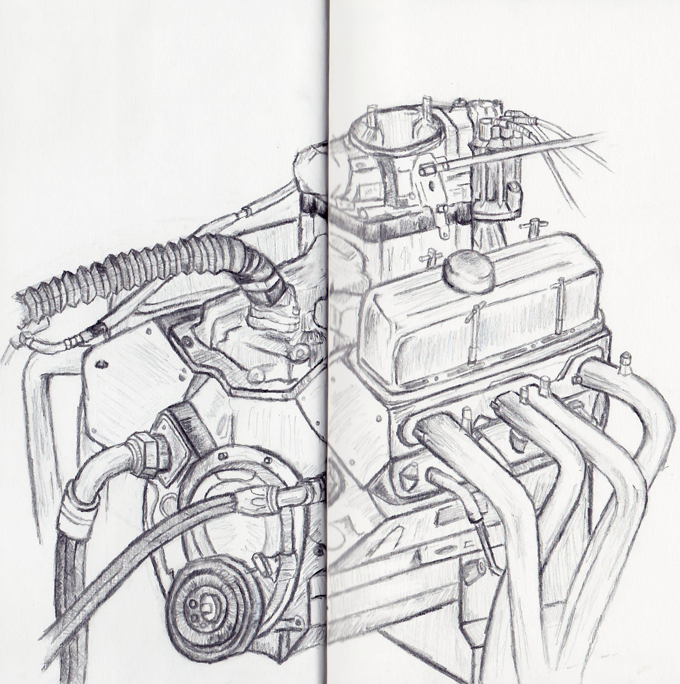 Car engine drawing 12th july deadline drawings pinterest