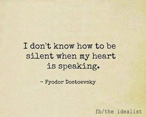 I don't know how to be silent...