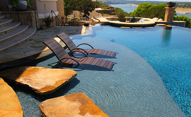 Pool design with tanning ledge chair pools pinterest for Pool design with tanning ledge