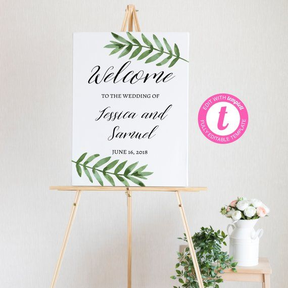 picture about Welcome Sign Templates named Do-it-yourself Greenery Welcome Signal - Wedding day Welcome Board