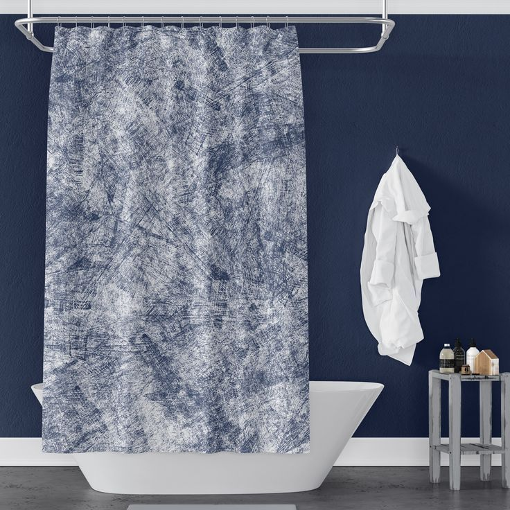 Navy Blue Farmhouse Distressed Shower Curtain Trendy Bathroom