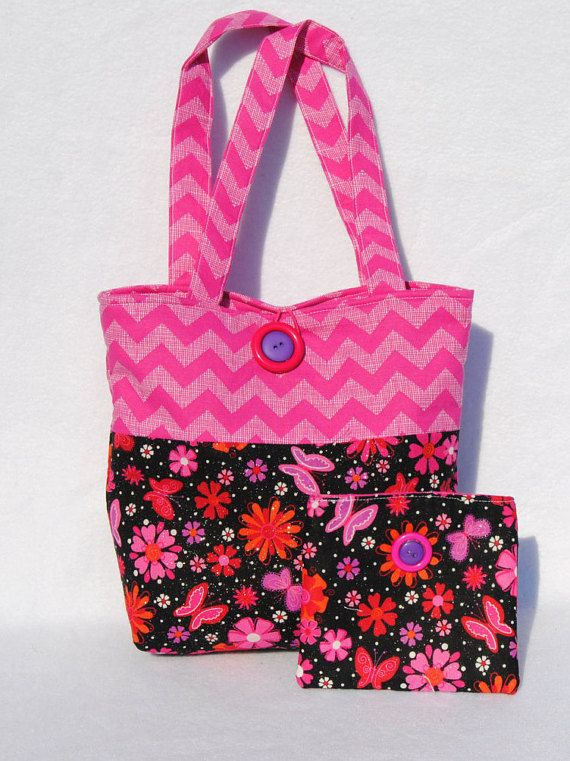 Girls floral chevron tote set- tote coin purse set- little girls tote