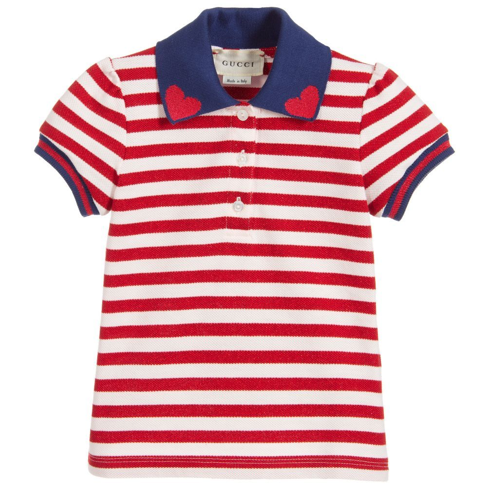 7d8d39caa9b6 Little girls red and white striped polo shirt from Gucci