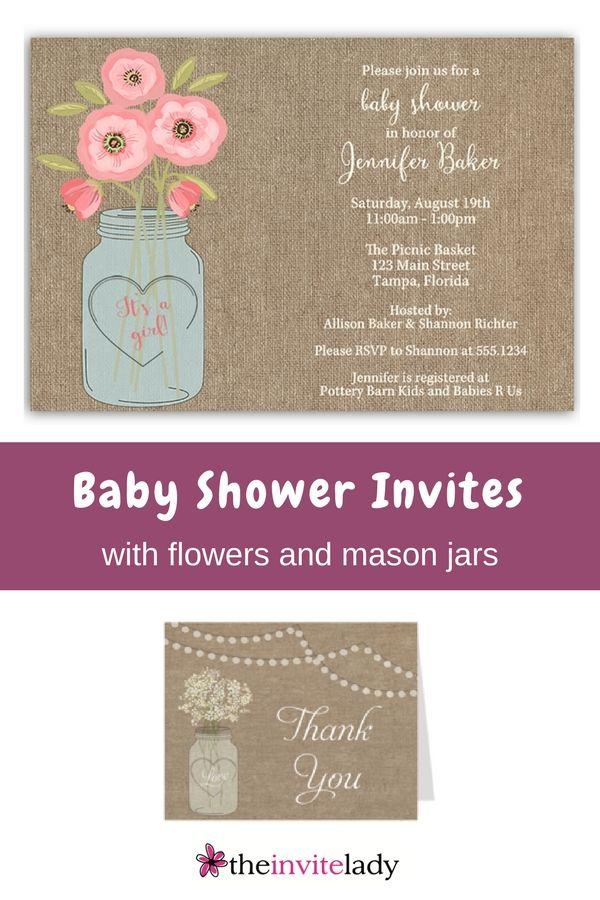 Burlap Mason Jar Baby Shower Invitation   Burlap invitations ...