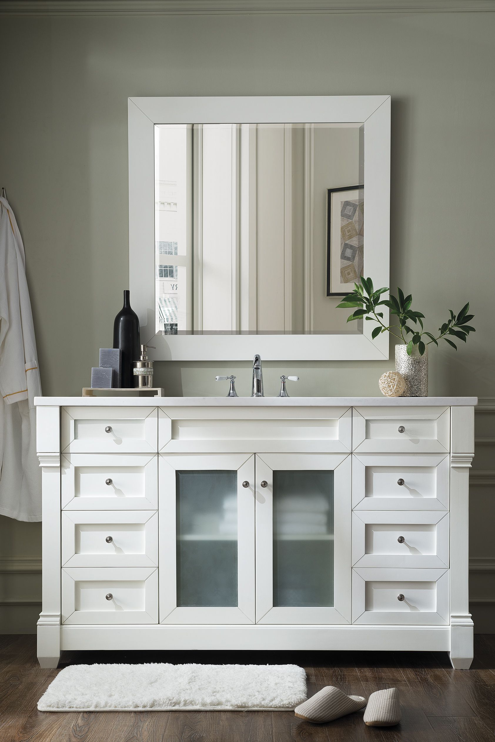 Weston 60 Single Sink Bathroom Vanity Cabinet Cottage White