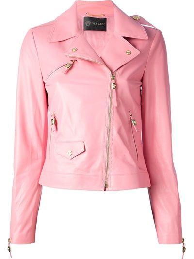 3493466c842 VERSACE 'Perfecto' Leather Jacket - pink ladies, grease! | Fatnaður ...