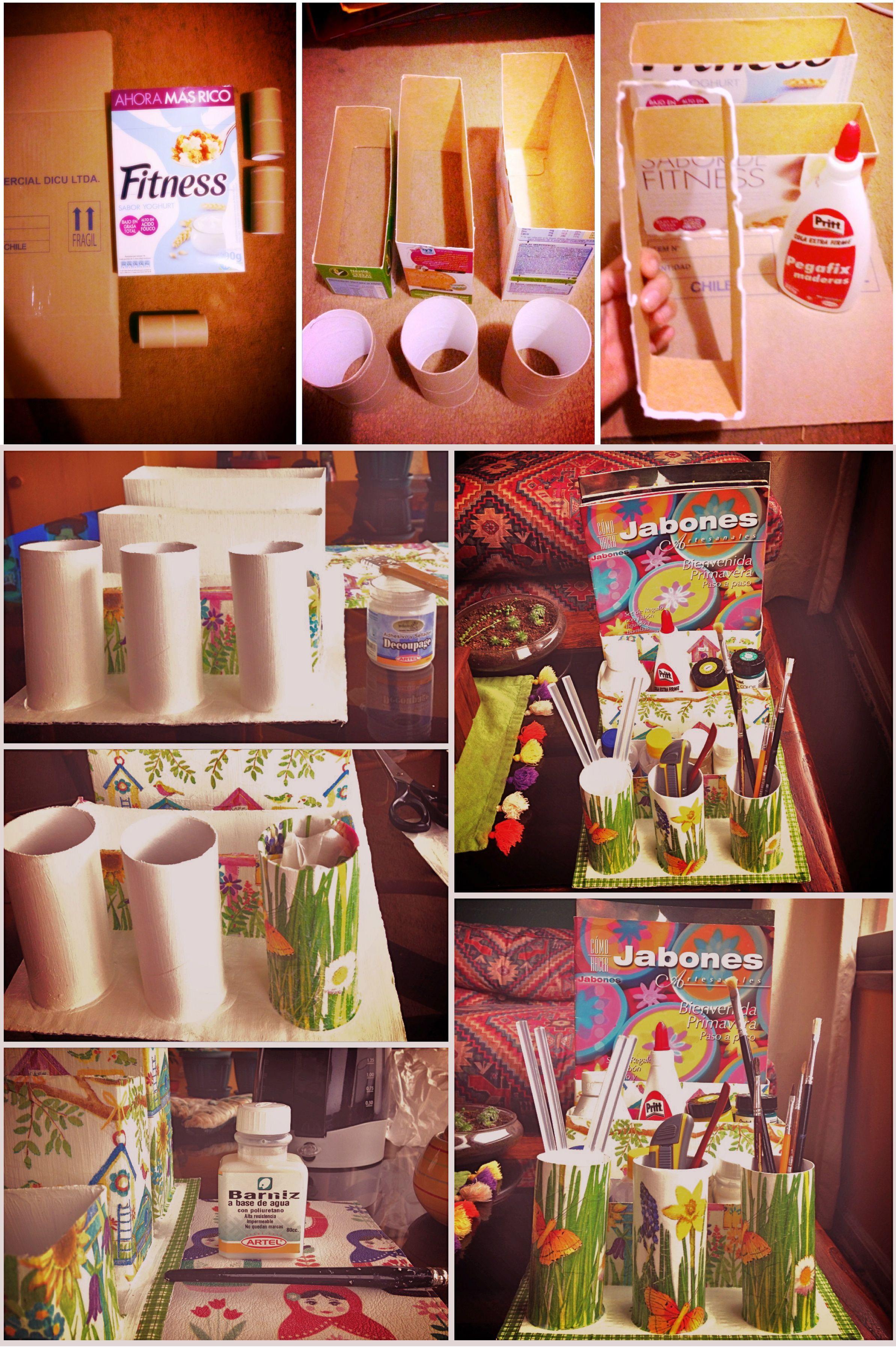 Organizardor hecho con cajas de cereales y rollos de papel higénico.Trabajo con base acrílico blanco, servilletas, y sellado con barniz al agua con poliuretano #DIY #Decoupage #Organizer #Organizador