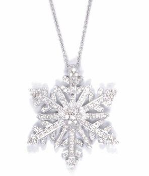 Christmas Lovely Rhinestone Snowflake Pendant Necklace Silver Fashion Jewelry