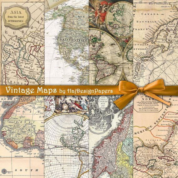 Vintage maps instant download digital paper vintage maps vintage maps instant download digital paper by hajdesignpapers 350 gumiabroncs Image collections
