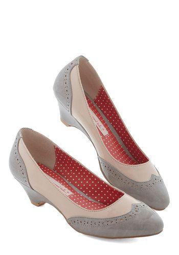 Sweet Spectator Heel in Glossy Earl Grey by Bait Footwear - Mid, Faux Leather, Grey, Tan / Cream, Solid, Party, Work, Vintage Inspired, 20s,...